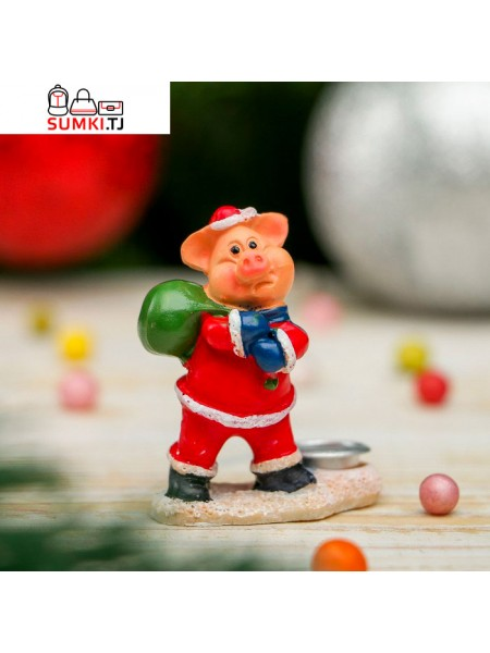 "Сувенир полистоун ""Поросёнок Дед Мороз"""